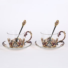2 Pack Luxurious Creative Artificial Crystal Decoration Design Coffee Mug Sets