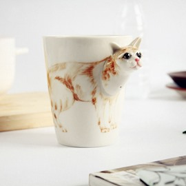 3D Cute Animals Ceramic Coffee Mug with Hand Print
