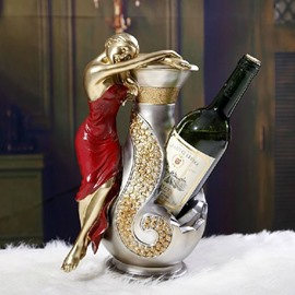 New Arrival Elegant Beauty in a Red Dress Design Wine Rack