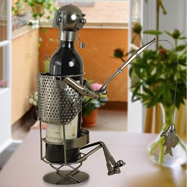 Unique Iron Artwork Man Angling Wine Rack