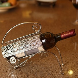 Unique Stainless Steel Cart Design Wine Rack