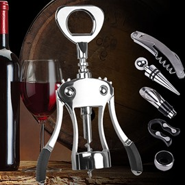 Stainless Steel Corkscrew Wine Opener 5-Piece Set