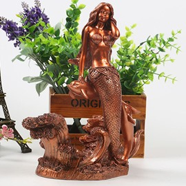 Stunning Resin Mermaid Sitting on the Dolphin Design Decorative Wine Rack