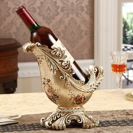 Charming European Style Resin Flower Pattern Home Decorative Wine Rack