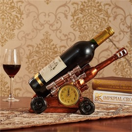 Creative Red Tank Artillery and Clock Home Decoration Red Wine Holder