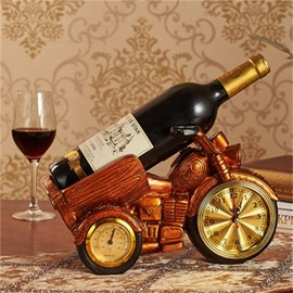 European Red Motorcycle Clock Resin Craft Home Decoration Red Wine Rack