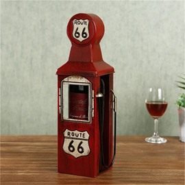 Elegant and Retro Style Oiling Machine Design Iron Home Decorative Wine Rack