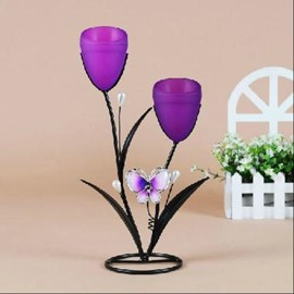 New Arrival Wrought Iron Butterfly with two Heads Candle Holder
