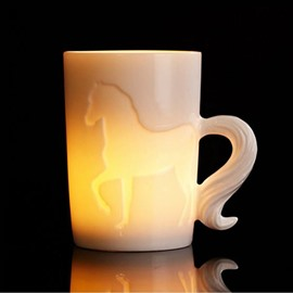 New Arival Stylish Creative 3D Ceramic Horse Pattern Dual Purpose Candle Holder and Coffee Mug
