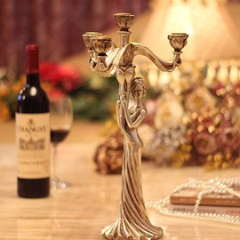 Gorgeous Beautiful Girl Resin 4-Head Candles Holders