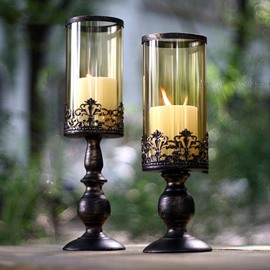 Classic European Style Vintage Glass Shade Candles Holders