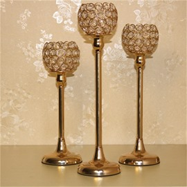 Concise and Modern Style Golden Flowers Bright Crystal Home and Hotel Decoration Candle Holder