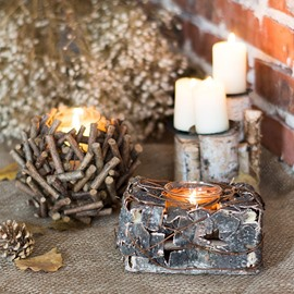 Natural Polytype Solid Wood Handmade Birch Bark Candlestick