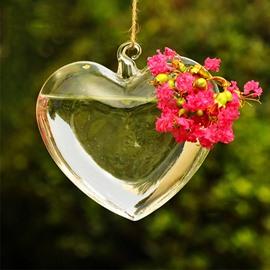 Romantic Heart Shaped Glass Hanging Flower Vase
