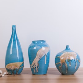 Creative Blue Mediterranean Style Sand Pattern 3 Pieces Flower Vases
