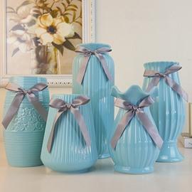 Modern Fashion Blue Ceramic with Bowknot Decoration Flower Vase