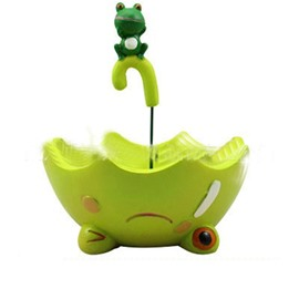 Creative Green Umbrella Shape Lovely Frog Resin Succulent Pots