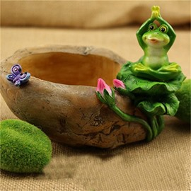 Imitation Stone Resin with Frog Home Decorations Green Plants Flower Pot