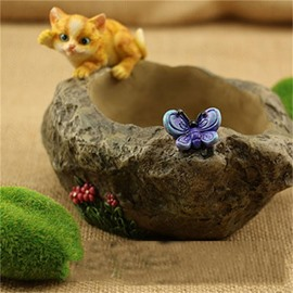 Corrosion Resistance Stone Imitation Resin Kitty and Butterfly Plant Pot