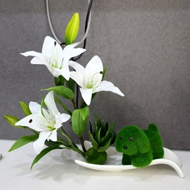 Elegant Artificial Lily Design Home Decorative Desktop Flower Sets