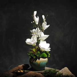 White and Clean Magnolias Artificial Flowers Artificial Flowers Plants and Vase