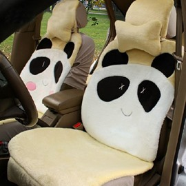 Great Texture Cute And Lovely Panda Cartoon Pattern Design Plush Universal Car Seat Cover