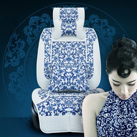 Classic Blue and White Porcelain Patterns Universal Fit Car Seat Cover
