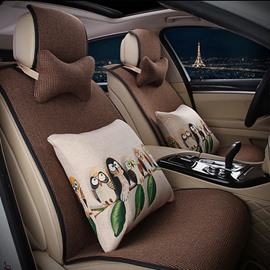 Elegant Single Colored with Animal Cushions Car Seat Cover Set