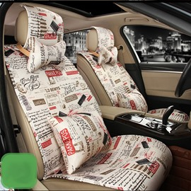 Trendy Patterns Letters And Words Soft Comfortable Universal Fit Car Seat Cover