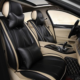 Luxurious Business Style Pure Color Streamlined Design Leatherette Material Universal Car Seat Covers