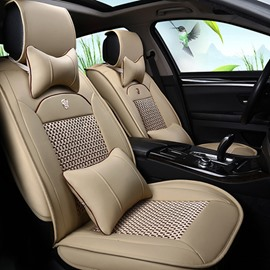 Durable Waterproof Leather&Fabric Material Car Seat Covers, Faux Leatherette Automotive Vehicle Cushion Cover for Cars SUV Pick-up Truck Universal Fit Set Auto Interior Accessories