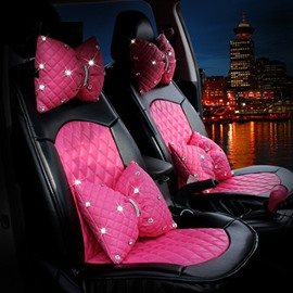 Pink Bow Style With Diamond Series PU Leatherette Material Universal Car Seat Cover