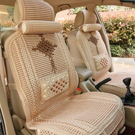Casual Style Cooling Patterns With Traditional Asian Knottings Universal Car Seat Covers