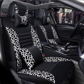 Leopard Skin Patterns Leather Material Universal Five Car Seat Covers