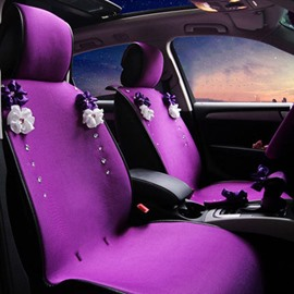 Beautiful And Charming Purple Style With Flower Universal Car Seat Cover