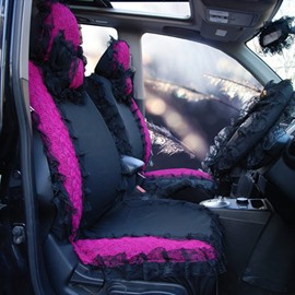 Elegant Royal Style Purple Themed With Laces Universal Fit Car Seat Cover