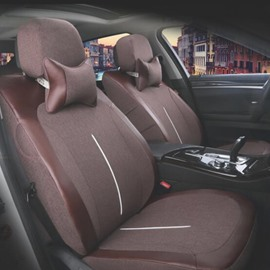 Natural Fibers Flax Material Textured Durable Universal Car Seat Cover