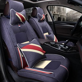 French Classic Flag Style Flax Material Universal Five Car Seat Cover