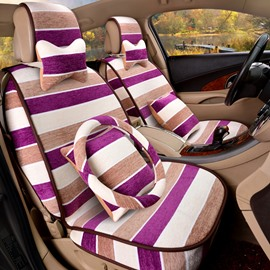 Popular Color Stripe Unique Design With Steering Wheel Cover Fantastic Universal Car Seat Cover