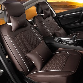 Luxurious Pure PVC Leather Material With Attractive Grid Style Universal Car Seat Cover
