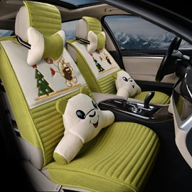 New Fashion Christmas Tree And Cartoon Bear Lovely Pattern Universal Car Seat Cover