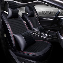New Luxury Cost-Effective Mixing PU Leather And Soft Velvet Universal Car Seat Cover