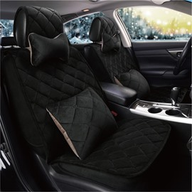 Soft Velvet Material Lattice Style Charming Solid Universal Car Seat Cover