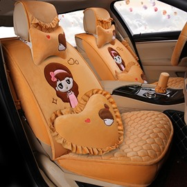 Beautiful Cartoon Girl With Lovely Pillow Colorful Textured Universal Car Seat Cover
