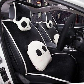 Cool Black Color With Cute Panda Pillow And Lumbar Universal Car Seat Cover