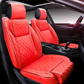 Beautiful Color Unique Grid Lines Design Durable PU Leather Material Universal Five Car Seat Cover
