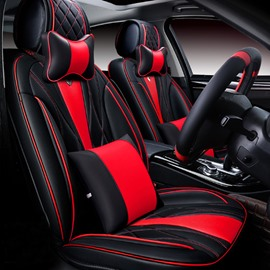6D Sport Design Dimensional Fashion Red Contrast Color Universal Five Car Seat Cover