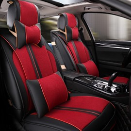 Beautiful Contrast-Color Stretch-Resistant Durable Mixing Material Universal Five Car Seat Cover