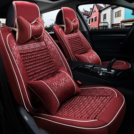 Luxury Red Style With Unique Flower Pattern Durable Universal Five Car Seat Cover