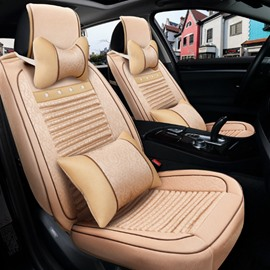 New Solid Beige Classic Color Design Durable PU Leather And Silk Material Universal Car Seat Cover